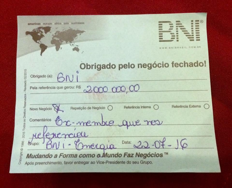 No BNI Brasil não há crise! Membros da Regional BNI ABC agradecem mais de R$ 1 mi em Negócio Fechado